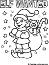 Elf Wanted coloring poster, Parenting.LeeHansen.com