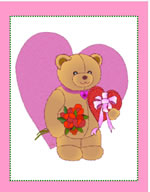 Cute bear heart valentine printable card